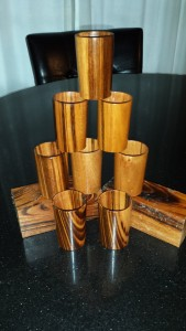 Custom set of 8 Jobillo shotglasses with food safe finish.